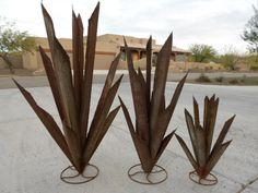 Metal Agave Cactus Small Yard Art Decor Landscape Rusty Steel Southwest Pottery | eBay