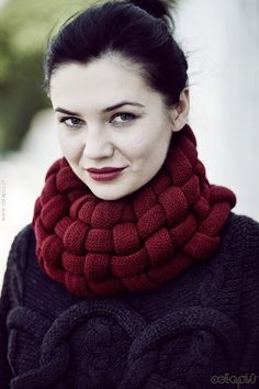 Woven Cowl in Burgundy on Etsy