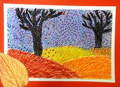 For the Love of Art: Grade: Van Gogh Autumn Landscapes Van Gogh Art, Art Van, Fall Art Projects, School Art Projects, Creation Art, 6th Grade Art, Ecole Art, Art Lessons Elementary, Autumn Art