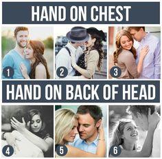 Để tay lên ngực, sau gáy chú rể :p