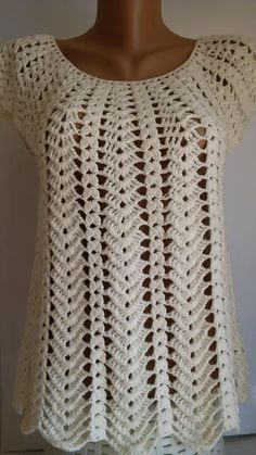 BEIGE CROCHET BLOUSE This beautiful beige crochet blouse is perfect for summer, it is very comfortable. It`s made of cotton thread, acril (ALIZE). It is soft in touch and I would even say gentle. This blouse is very simple and classic, so you can Blouse Au Crochet, Débardeurs Au Crochet, Gilet Crochet, Mode Crochet, Crochet Vest Pattern, Crochet Woman, Crochet Cardigan, Crochet Stitches, Crochet Patterns
