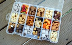 Store snack foods in a pill box with a lid when on the go.