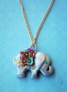Colourful Elephant necklace by colourfulblossom