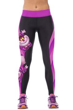 CHICOCO Womens 3d Galaxy Printed Workout Capri Leggings Stretch Tights (One Size, Purpel Cheshire Cat)
