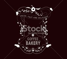 coffee, bakery Vintage frames and Floral Ornaments - Illustration