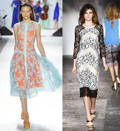 encaje en contraste Chloe, Prada, Nanette Lepore, Pencil, Trends, Skirts, Dresses, Fashion, Tinkerbell