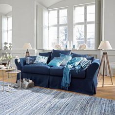 Wohnzimmer Vintage Mbel Blaues Sofa Tulpen