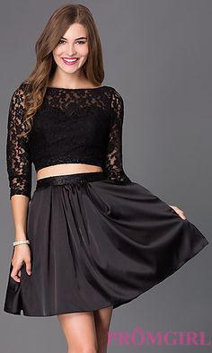 Short Black Two Piece Dress 6166 with Lace Bodice at PromGirl.com
