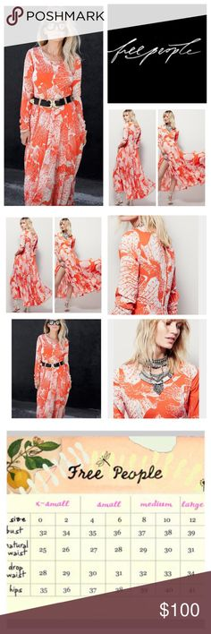 """Free People First Kiss Floral Maxi Dress.  NWT. Free People Tangerine Dream Combo First Kiss Floral Printed Maxi Dress, 100% rayon, machine washable, 17.5 armpit to armpit (35"""" all around) 30"""" empire waist no stretch, 18.5"""" arm inseam, 54"""" front length, 56"""" back length, scoop neck, long sleeves, deep keyhole back, pleated skirt, high low hem, five button back closure, angled empire waist seam, flared silhouette, partially lined, measurements are approx.  NO TRADES Free People Dresses Maxi"""