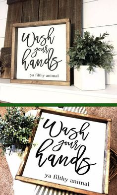 Wash your hands ya filthy animal, Wood Sign, Farmhouse Sign, Wash Your Hands, Bathroom Decor, Bathroom, Home Decor, Rustic Decor, Kids Decor, afflink