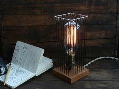 Steel and oak bedside table lamp industrial metal por StuartDunbar