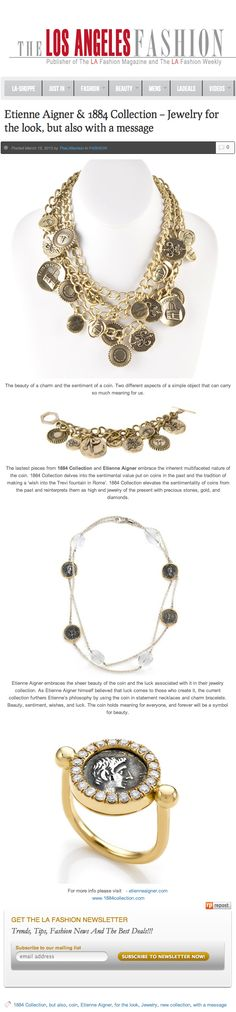 """Our 18k Gold Ring with a Medium Coin Diamond Bezel and Coin Gemstone necklace from the Appia Collection was featured on The Los Angeles Fashion's """"Jewelry for the look, but also with a message"""" because these two pieces hold sentiment with their ability to keep your personal wish alive."""