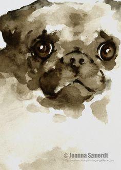 Pug Dog kunst aan de muur aquarel bruine hond portret