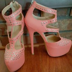 Coral Studded High Heels Never Been Worn