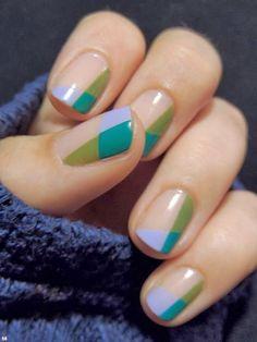 color block negative space nails Nail Design, Nail Art, Nail Salon, Irvine, Newport Beach