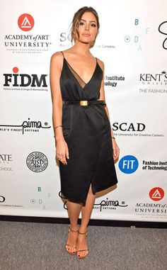 Olivia Culpo from Stars at New York Fashion Week Spring 2016  The former Miss Universe drops jaws in a stunningbelted dress at theSupima Design Competition show.