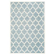 Wrought Studio Wilkin Hand-Tufted Wool Blue/Ivory Area Rug Rug Size: Rectangle x Wool Area Rugs, Blue Area Rugs, Wool Rugs, Global Design, Hand Tufted Rugs, Modern Carpet, Quatrefoil, Blue Ivory, Carpet Runner