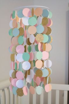 Mint, Peach, Pink, White and Gold Paper Crib Mobile, Modern circle mobile, geometric crib mobile, nursery mobile, dorm room, wedding decor