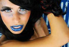 avant garde makeup blue makeup glitter makeup www.smudgedprntz.com