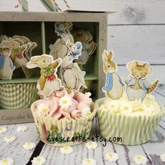 Peter rabbit cupcake kit Peter rabbit party Peter rabbit cake toppers baby shower christening first birthday baking supplies potter by evescrafts on Etsy https://www.etsy.com/listing/471414745/peter-rabbit-cupcake-kit-peter-rabbit