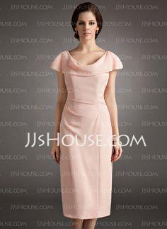 Vestidos para a mãe da noiva - $99.99 - Tubo Capuz Na altura do joelho Chiffon Vestido para a mãe da noiva com Pregueado (008005704) http://jjshouse.com/pt/Tubo-Capuz-Na-Altura-Do-Joelho-Chiffon-Vestido-Para-A-Mae-Da-Noiva-Com-Pregueado-008005704-g5704