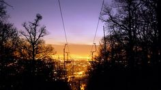 """Flying chairs above Budapest – the """"Libegő"""" (Flutter) The Chair Lift (""""Libegő"""" literally """"flutter"""") is the one of the most interesting sights of the hills of Buda. Budapest, Celestial, Sunset, Outdoor, Outdoors, Sunsets, Outdoor Games"""