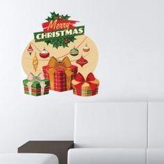 Merry Christmas con Pacchetti Wall Sticker Adesivo da Muro