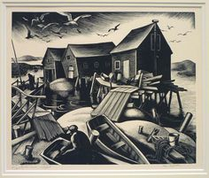 Clare Leighton. Oyster Houses, Wellfleet. 1940s. (wood engraving)