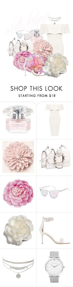 """""""Spring Colors: WHITE!"""" by emmmy88 ❤ liked on Polyvore featuring Versace, WearAll, Miu Miu, Ballard Designs, Le Specs Luxe, Cara, Gianvito Rossi, Larsson & Jennings, Elegant and polyvoreeditorial"""