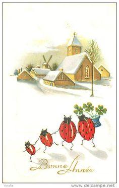 Luv! Vintage Happy New Year Card .~ Ladybug Family