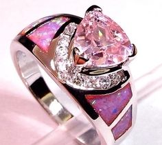 Brand new Lab Pink topaz and fire opal ring