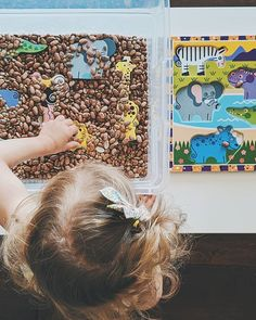 We love this Countless Ways to Play idea from @ohheyletsplay! 🧩 Place puzzle pieces in a sensory bin and send your little one on a digging expedition 🦓 🦒. Once they find all of the pieces, they can put together the puzzle! This activity encourages fine motor skills, hand-eye coordination ✋👁 and engages the senses.   #puzzles #sensorybins #powerofplay #melissaanddoug #playmatters #educationaltoys #childdevelopment #parentinghack #kidsactivities #kidsactivitiesathome Sensory Bins, Sensory Activities, Educational Activities, 18 Month Old Activities, Kids Activities At Home, Shape Puzzles, Developmental Toys, Finger Painting, Colored Paper