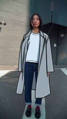 Video with animation - #video #animation #illustration #fashion #movement Illustration Fashion, Photo Illustration, Duster Coat, Rain Jacket, Windbreaker, Animation, Jackets, Down Jackets, Pictures