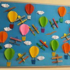 hot air balloon bulletin board for preschool or Kindergarten Summer Bulletin Boards, Preschool Bulletin Boards, Preschool Crafts, Crafts For Kids, Arts And Crafts, Craft Kids, Plane Crafts, Car Crafts, Transportation Crafts