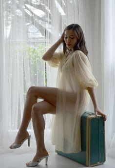 Cream Chiffon Vintage 50s Peignoir Robe Luxite robes, 50s chiffon, cream chiffon, chiffon vintag, sale cream, 50s peignoir, peignoir robe, vintag 50s, vintage lingerie negligee