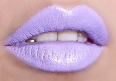 Bright pastel lavender lips.