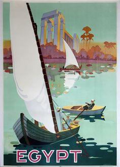 $775 ORIGINAL Vintage Lithographic Travel Poster 1936 EGYPT Nile River ON LINEN #Vintage