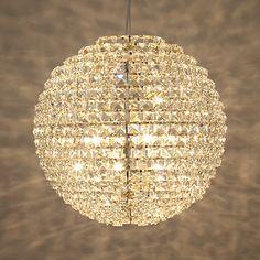 Buy John Lewis Exquisite Crystal Globe Ceiling Light, Brushed Brass, Large Online at johnlewis.com
