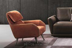 Giselle Modern Leather Armchair by Gamma Arredamenti