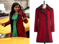 """Mindy is going to be wearing her red and navy trimmed coat (seen in """"Harry & Sally"""" and """"Mindy's Minute"""") again in the season 2 promo for The Mindy Project. Modcloth Cherry Warm and Cozy Coat by Dear Creatures (sold out) Although Mindy's coat is sold out, there is one on Ebay. Worn with Shoshanna green dress"""