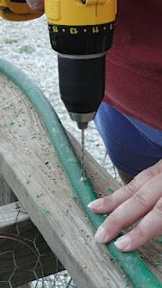 "DIY soaker hose - great way to use those old leaking hoses instead of throwing them away. Also probably more sturdy & less likely to dig/cut through these than the ""real"" soaker hoses!"