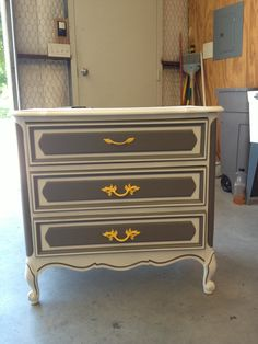 DIY Gray, white, and yellow dresser. This dresser used to be a very ugly, vintage green.