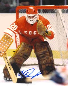 This photo features USSR legend Vladislav Tretiak crouched in goal wearing red. The photo is hand autographed, comes as shown, with Hologram and Certificate of Authenticity. Army Hockey, Stars Hockey, Hockey Goalie, Hockey Games, Field Hockey, Hockey Players, Ice Hockey, Olympic Hockey, Nhl