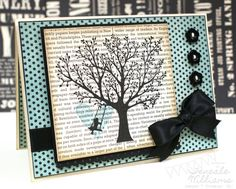Love the black silouhette on newsprint, love the baja heart, love the big bow....I just love everything about this card!