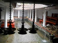 Rain inside a temple in Kerala, India