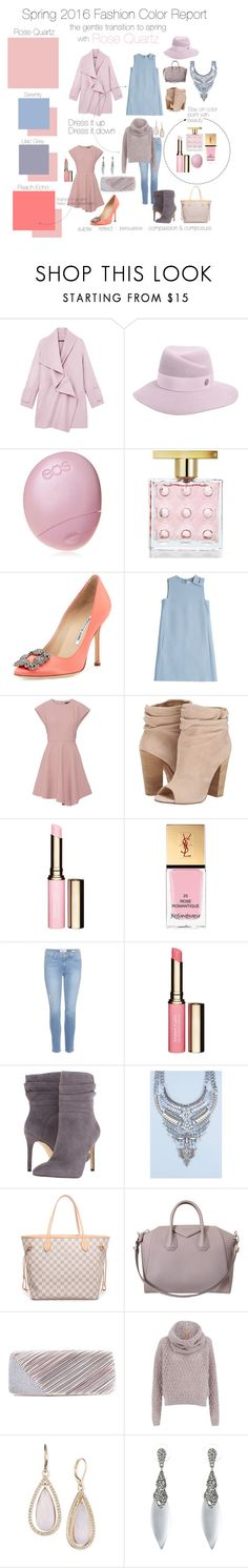 Spring 2016 Fashion Color Report: Rose Quartz by asmittenlife on Polyvore featuring Valentino, TIBI, BOSS Orange, Vince, Frame Denim, Manolo Blahnik, Chinese Laundry, GUESS, Givenchy and Jacki Design