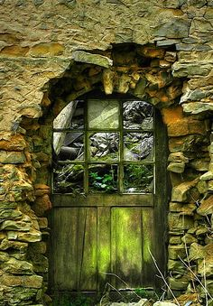 Old World green door
