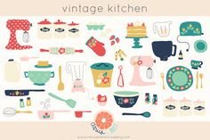 Vintage Kitchen Clip Art - Illustrations