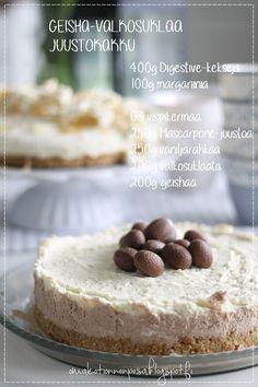 Oma koti onnenpesä: Herkulliset juustokakut Raw Food Recipes, Sweet Recipes, Just Eat It, Sweet Desserts, Recipe Box, Yummy Cakes, No Bake Cake, Cheesecake, Sweet Home