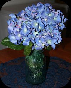 table flower arrangements in a mason jar | Silk Hydrangea In Vintage Blue Ball Mason Jar - BridalMagz.com